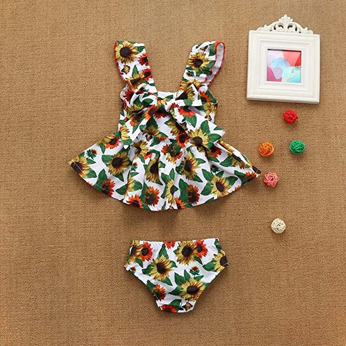b7dc6f243a35 Amazon.com  Memela Must Have Baby Girl s Clothes Sunflower Print Dress  Shorts Set 0-18 Months Spring Summer  Clothing