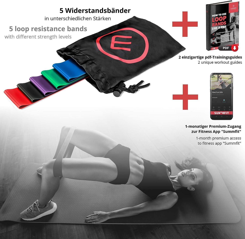 Livre dentrainement et Sac Musculation Sport Crossfit Yoga Pilates Bandes /Élastique Fitness Elastiband Kit dexercice Lot de Sangles de R/ésistance en Latex//Tissu R/é/éducation Physique