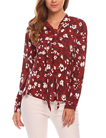 7cd59c37a7ede Meaneor Women s Loose Floral Print Chiffon Blouses V Neck Long Sleeve  Shirts Tops Red S