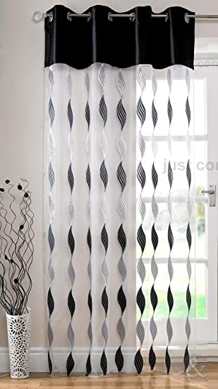 Kitchen Curtains black and silver kitchen curtains : MODERN Eyelet Voile Panels Luxury Ring Top Ready Made Voile Net ...