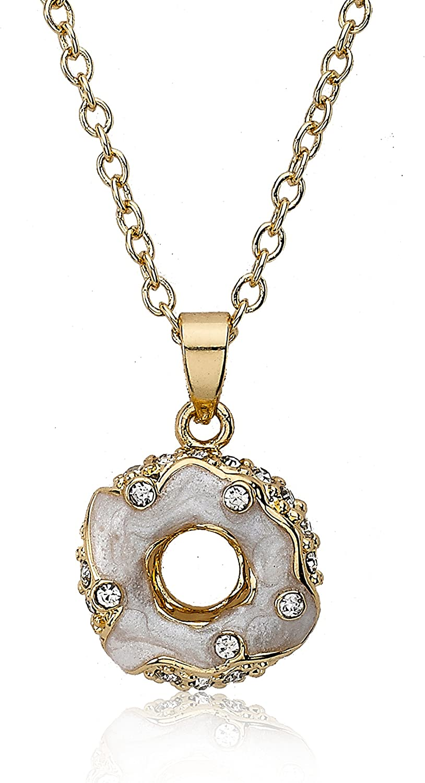 Yellow Gold Plated Girls Necklace Cream White Enamel Flower Pendant Gift