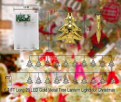 Busoh Led Christmas Tree Lights 6 56 Ft 20 Led Gold Metal Vine Lantern String Lights Battery Operated Boho Decor Mini Fairy Lights Christmas