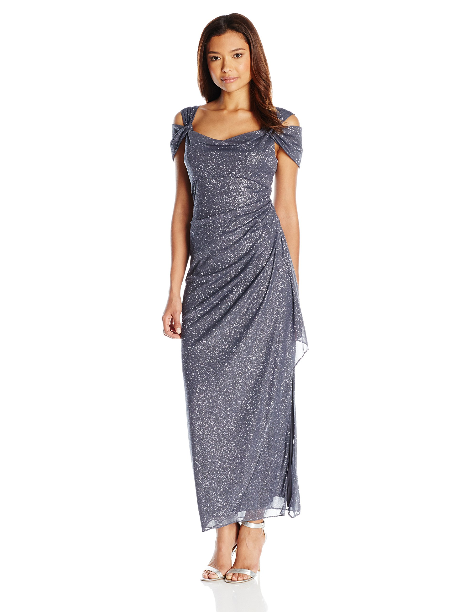 Alex Evenings Women's Long Cold Shoulder Dress With Side Ruched Skirt (Regular Sizes), Smoke, 8 Petite by Alex Evenings (Image #1)
