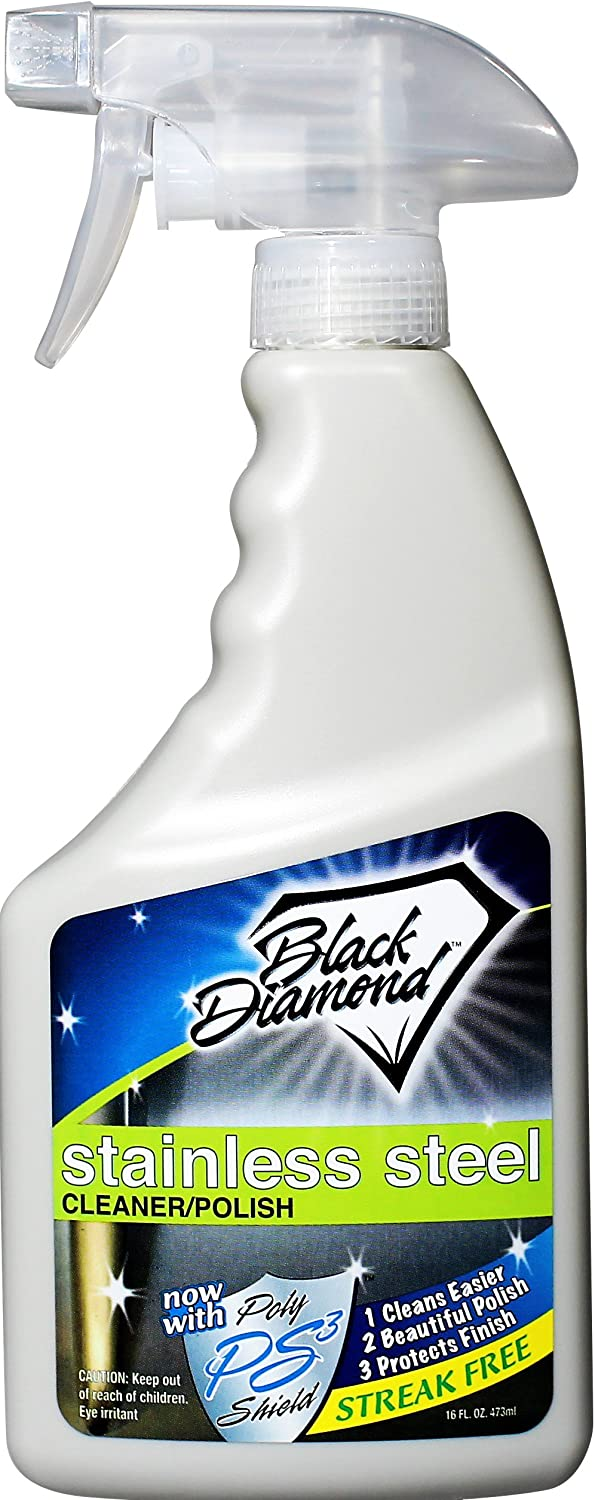 Black Diamond Stoneworks Stainless Steel Cleaner & Polish Best Streak Free Clean & Shine for All Appliances Refrigerators, Oven, Stove, Dishwasher and More (Pint)