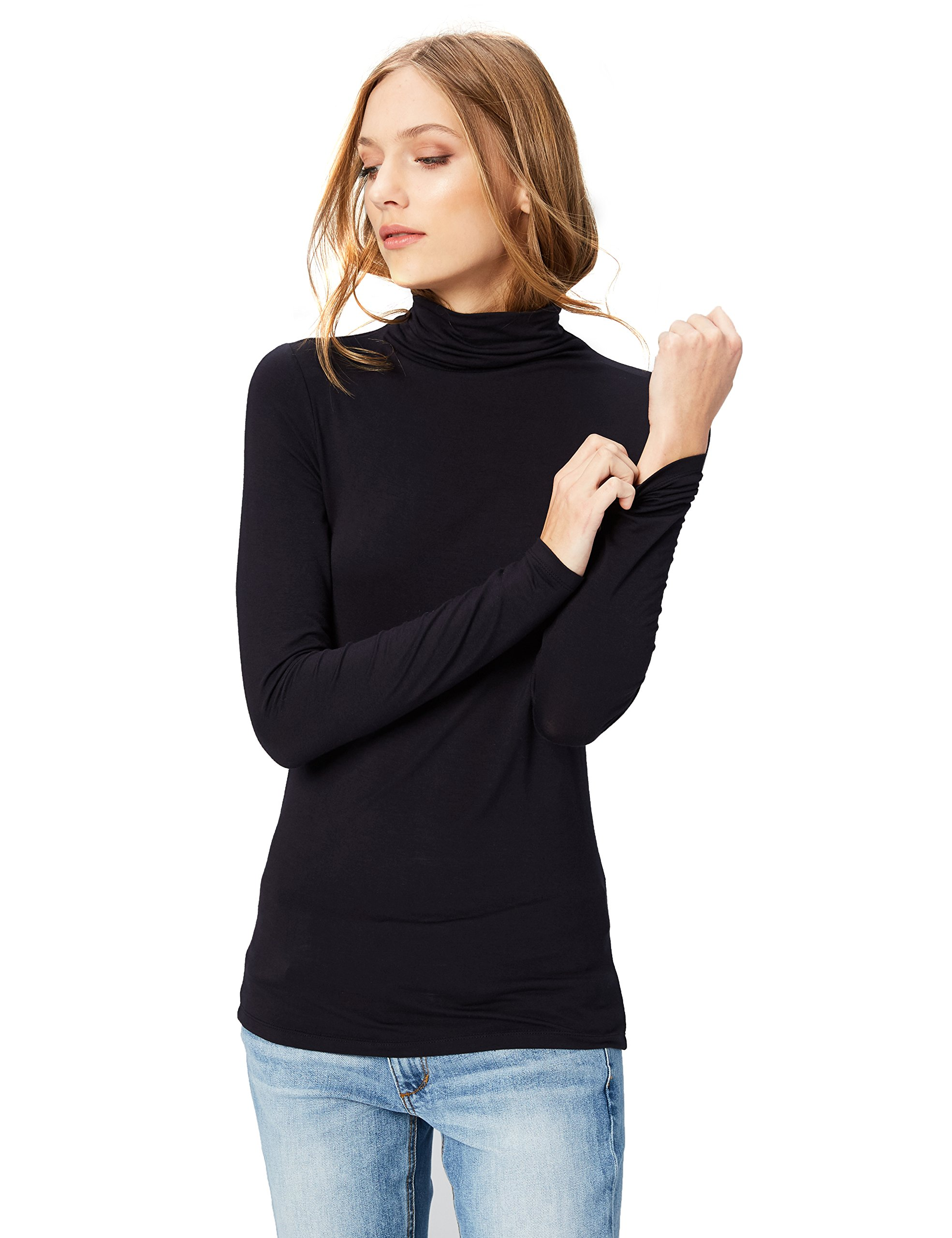 Daily Ritual Women's Rib Knit Jersey Long-Sleeve Funnel-Neck Shirt, L, Navy