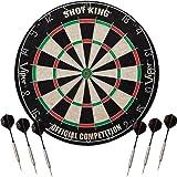 Viper Shot King Sisal/Bristle Steel Tip Dartboard with Staple-Free Bullseye and 6 Darts
