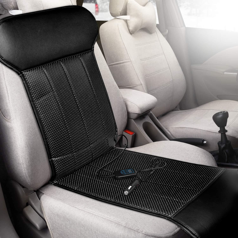 ELUTO Coprisedile Termico/Sedili per Riscaldamento Auto 12V con con Termoregolatore per Auto Casa Sedia da Ufficio