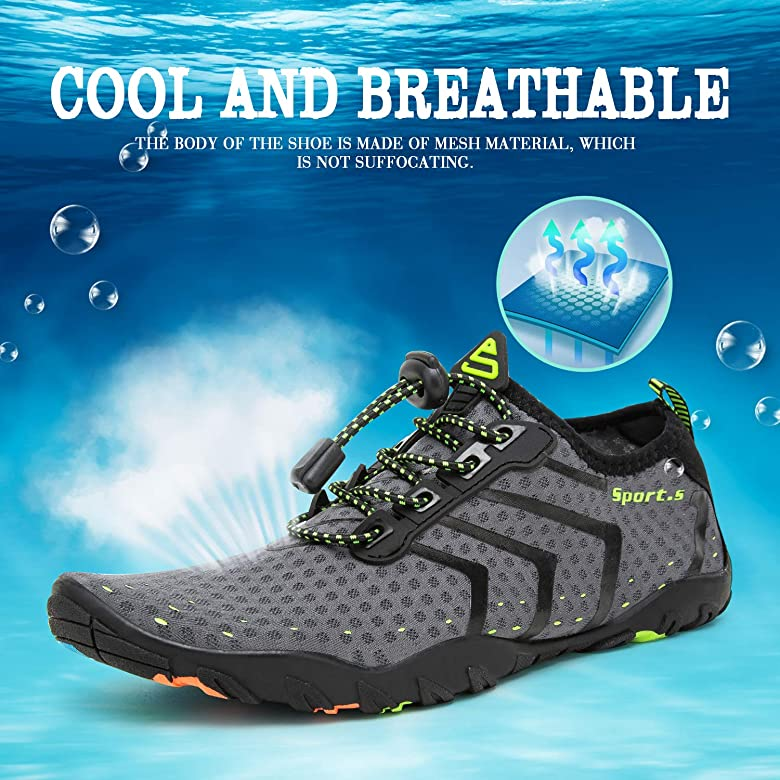 YALOX Water Shoes Mens Womens Beach Quick Dry Swim Barefoot Shoes Aqua Sock Outdoor Athletic Pool Shoes for Kayaking Fishing Surfing Swimming Yoga
