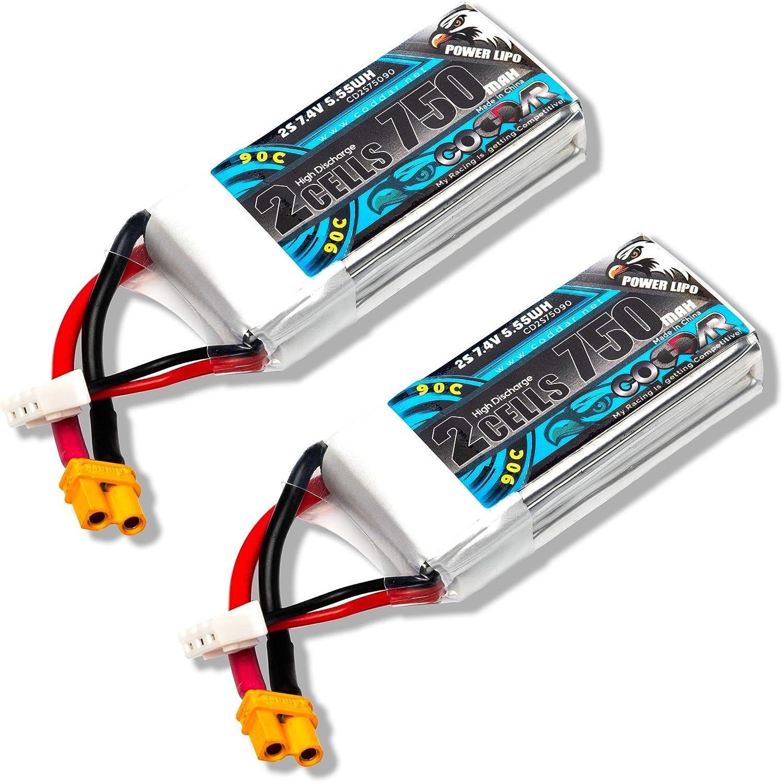2 baterias 750mAh 2s 7.4v 90c Lipo con conector XT30 FPV