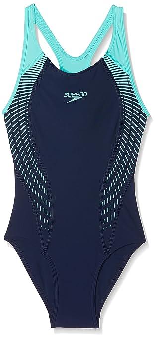 Speedo Womens Fit Laneback Swimsuit Navyspearmintvita Grey 28xs