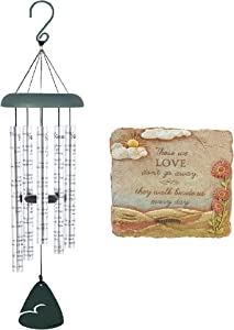 Naturesroom Gift Pack - Carson Home Accents 62913 Always Near Sonnet Memorial Sympathy Wind Chime with Popular Garden Stone Plaque Those We Love Don't. from Grassland Roads