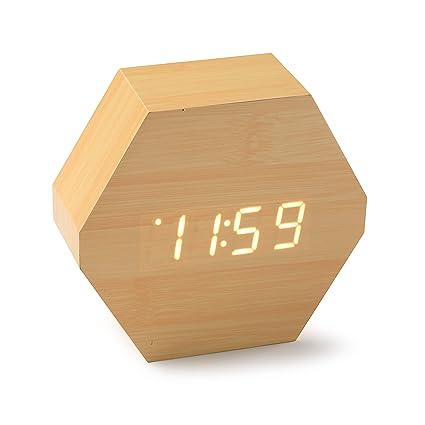 Versa 19650130 Reloj de mesa Digital de Bambú, 13,2x4,6x11,4cm