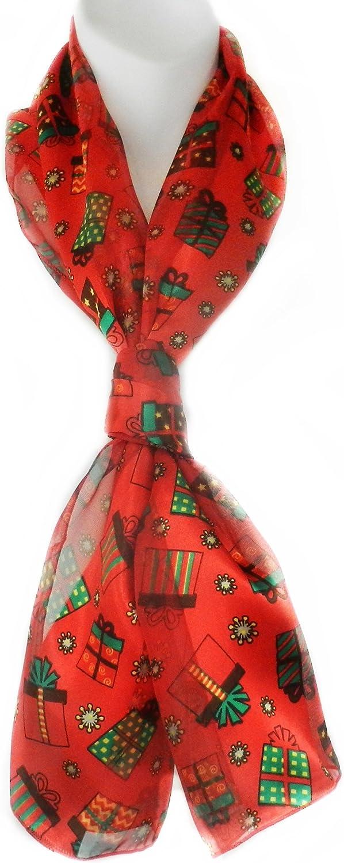Imagine If Christmas Scarf Christmas Gift Santa Snow Tree Ornaments Poinsettia