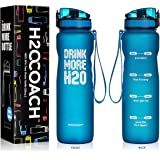 H2OCOACH Motivational Water Bottle with Time Marker   Measurements   BPA-Free   Large 1.0L, 36oz