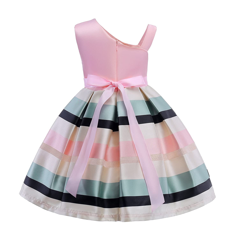 DUTISON Girls Kids Dress Sleeveless One Shoulder Bow Belt Dress Birthday Bridesmaid Formal Dresses