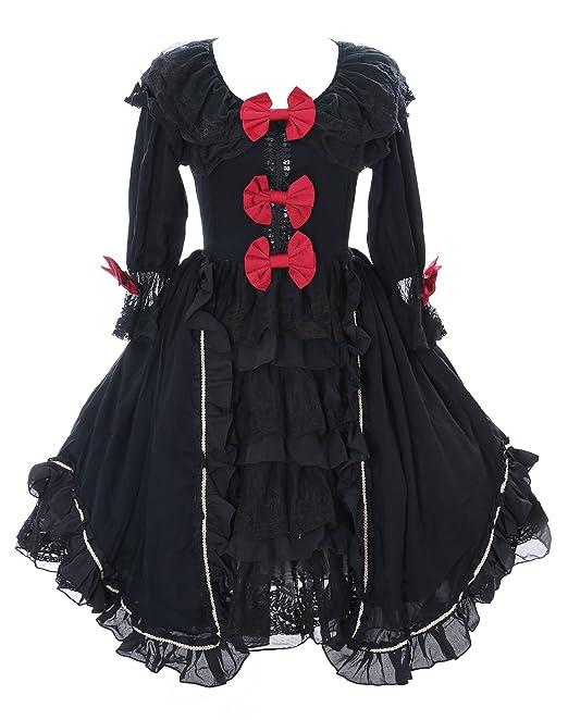 Kawaii-Story JL de 645 – 1 Negro Volantes Gasa Vestido rococó Victorian gótico Lolita