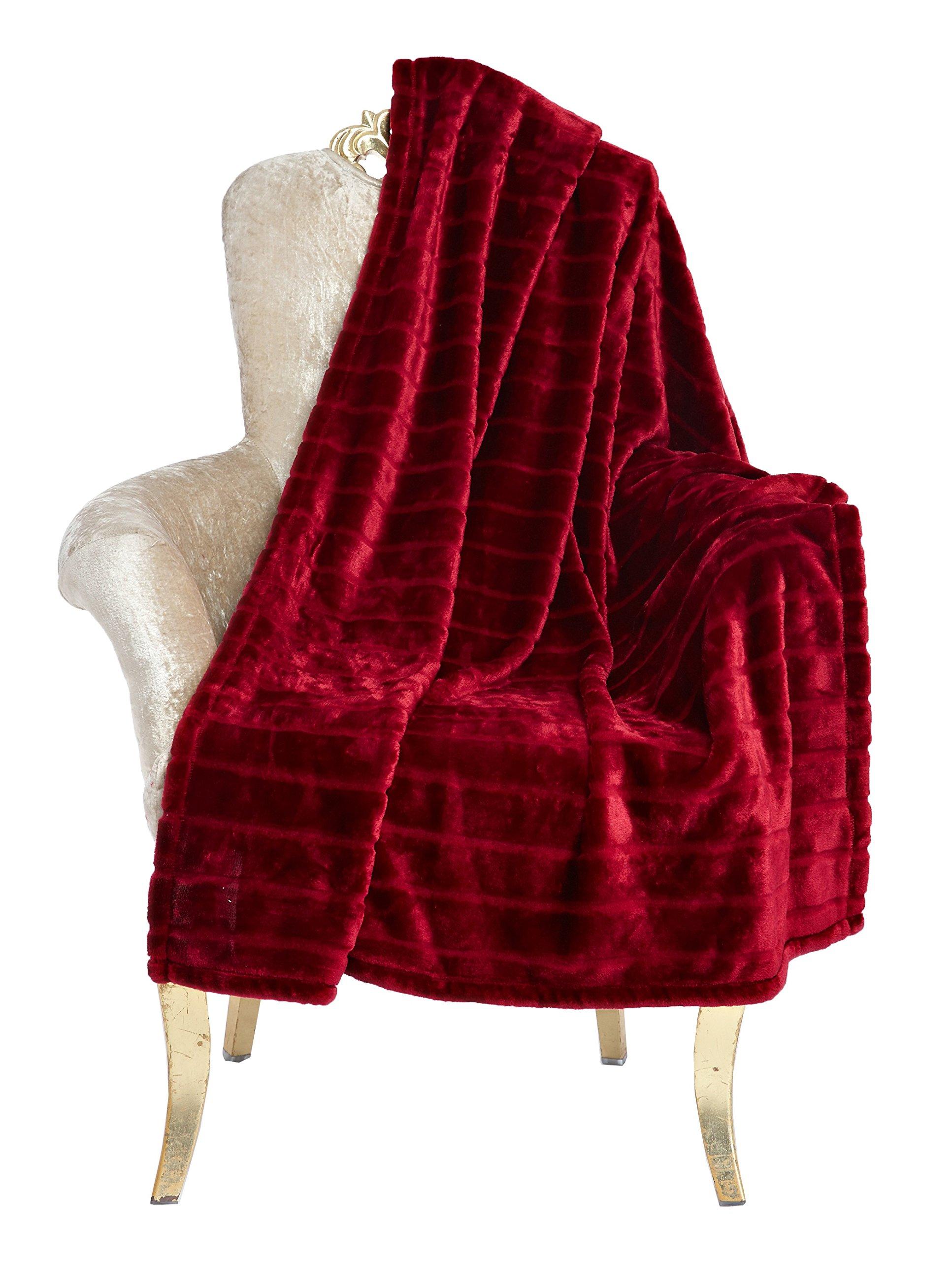 Bertte Ultra Velvet Plush Super Soft Decorative Stripe Throw King Size Bed Blanket- 102''x 90'', Burgundy