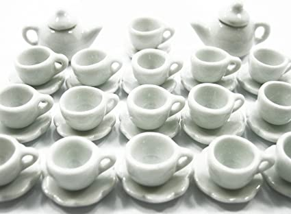 20 White Mini Coffee Cup and Scalloped Plate Dollhouse Miniatures Kitchenware