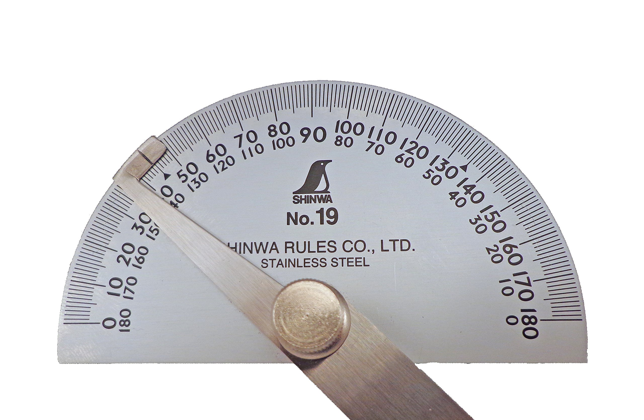 Shinwa Japanese #19 Stainless Steel Protractor 0-180 degrees with Round Head by Shinwa (Image #2)