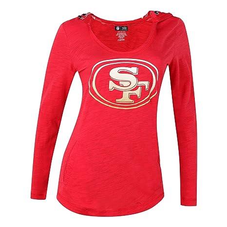 San Francisco 49ers Womens Red Long Sleeve Fusion Hooded Top Medium 3bbdcfabc