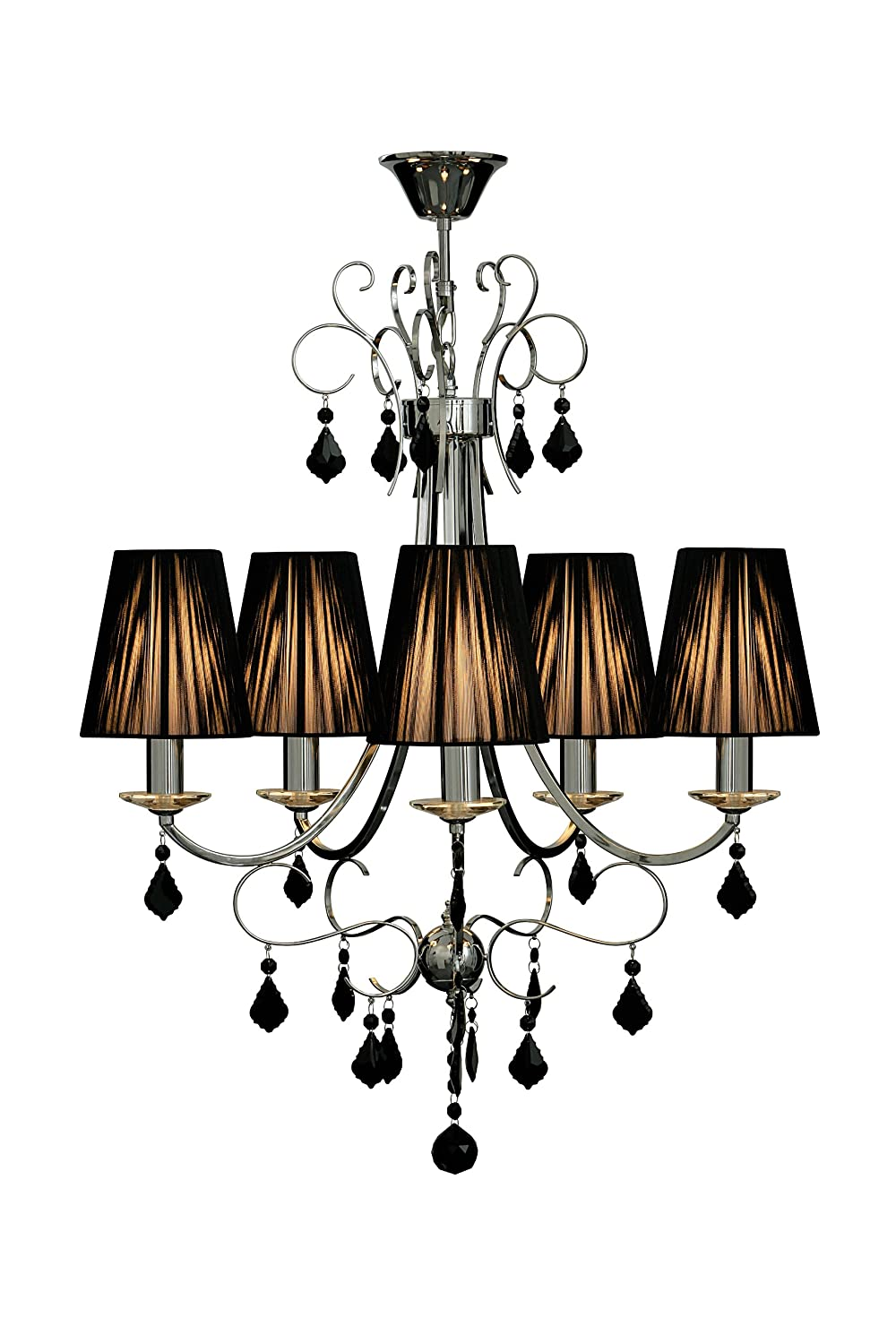 Premier Housewares Luma 3 Arm Black Chandelier Crystal With Ribbed Fabric Shades Co Uk Lighting