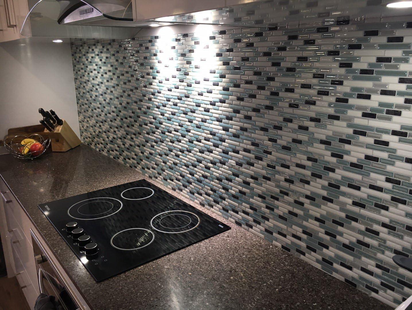 Tic Tac Tiles Pelar antimoho e insertar azulejo de la pared en Como Marrone 5 10 x 10 M/ármol marr/ón; Beige de perlas de luz; M/ármol marfil claro; met/álica de bronce