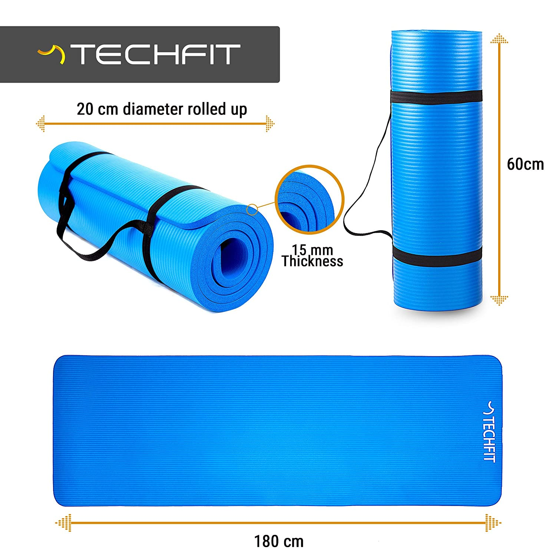 TechFit Colchón para Yoga y Fitness, Espesor Extra de 15 mm, 180 x 60 cm, Ideal para Ejercicios en el Suelo, Gimnasia, Camping, Estiramientos, Abdómenes, ...