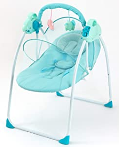 Baby Cradles-Sleeper Bassinet -Baby Bouncer Portable - Automatic Baby Basket Electric Rocking Multifunction Baby Swing Cradle Bed - Rocking and Stationary Featur - Foldable Cradle - Blue