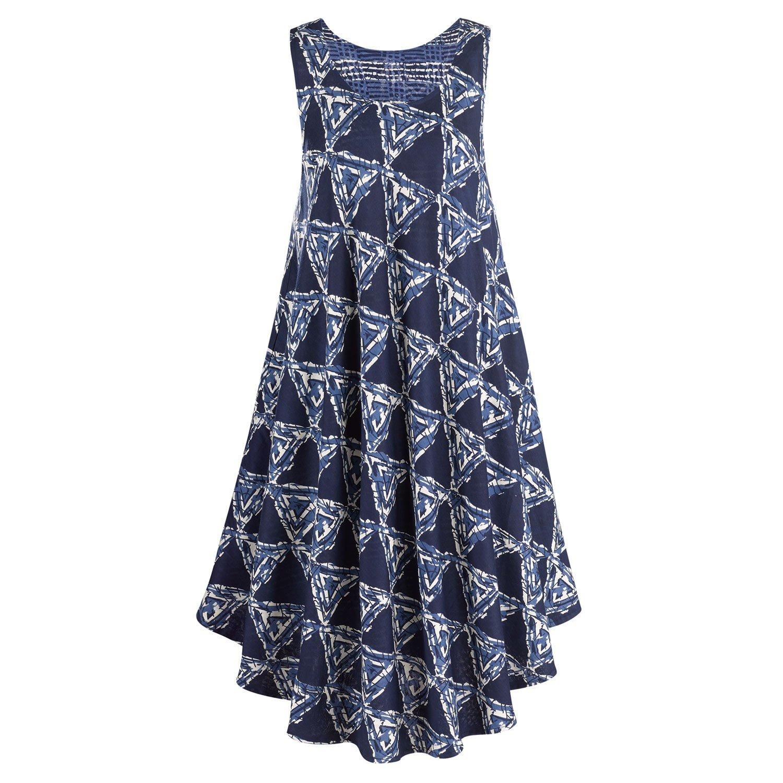 CATALOG CLASSICS Women's Reversible Geometric Print Dress-Indigo Blue Sleeveless - L/XL by CATALOG CLASSICS