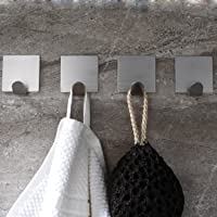Adhesive Towel Hooks Bathroom 3M Hooks No Drilling, SUS304 Stainless Steel, 4 Pack, by Ceinter