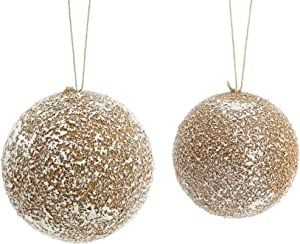 """Diva At Home Set of 2 Brown and White Snowflake Christmas Decorative Hanging Ball Ornament 6"""""""