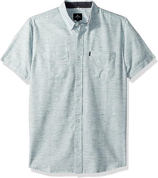 Rip Curl Hombre Manga Corta Camisa de Botones - Azul - X-Large ...