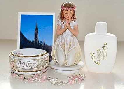 Catholic Gift Shop Ltd Primera Comunión Regalo Set para una niña – Comunión Rosario Soporte (