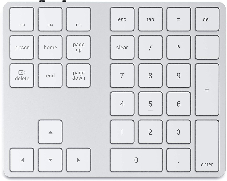 SATECHI Teclado Númerico con Bluetooth – Delgado Recargable con 43 Teclas – Compatible con iMac Pro/iMac, 2020/2019/2018 MacBook Pro, 2020/2018 MacBook Air, 2020/2018 iPad Pro y más (Plata)