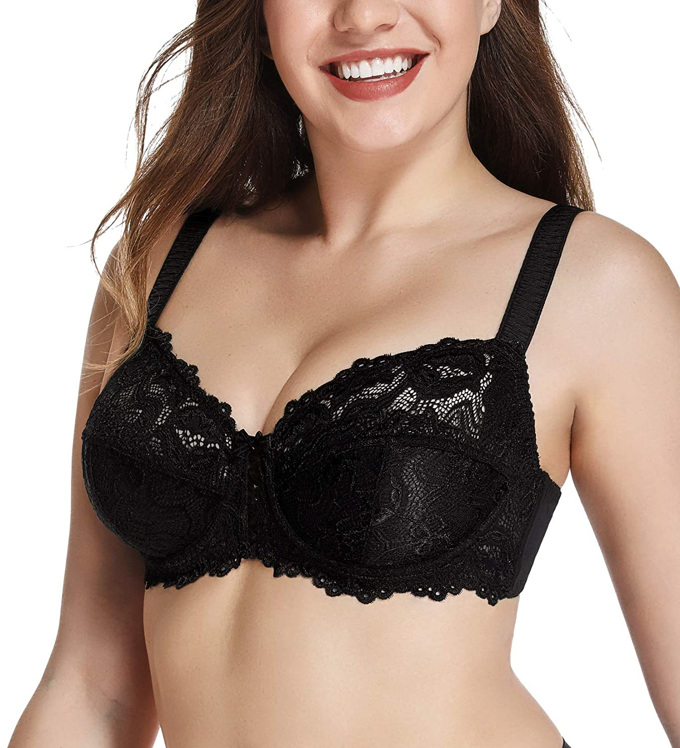 e8fb289cd7 JOATEAY Women s Lace Bra Full Coverage Floral Sexy Soft Cup Unlined Underwire  Bra