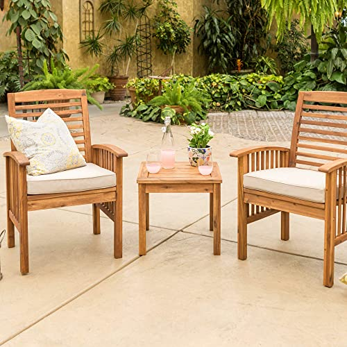 Walker Edison Outdoor Wood Ladder Back Patio Furniture Set Chairs Side TableAll Weather Backyard Conversation Garden Poolside Balcony Brown3 Piece