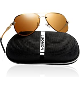 13628f4fab9 LUOMON Men s Polarized Aviator Sunglasses with Al-Mg Aloy Temple 63mm Lens  LM007
