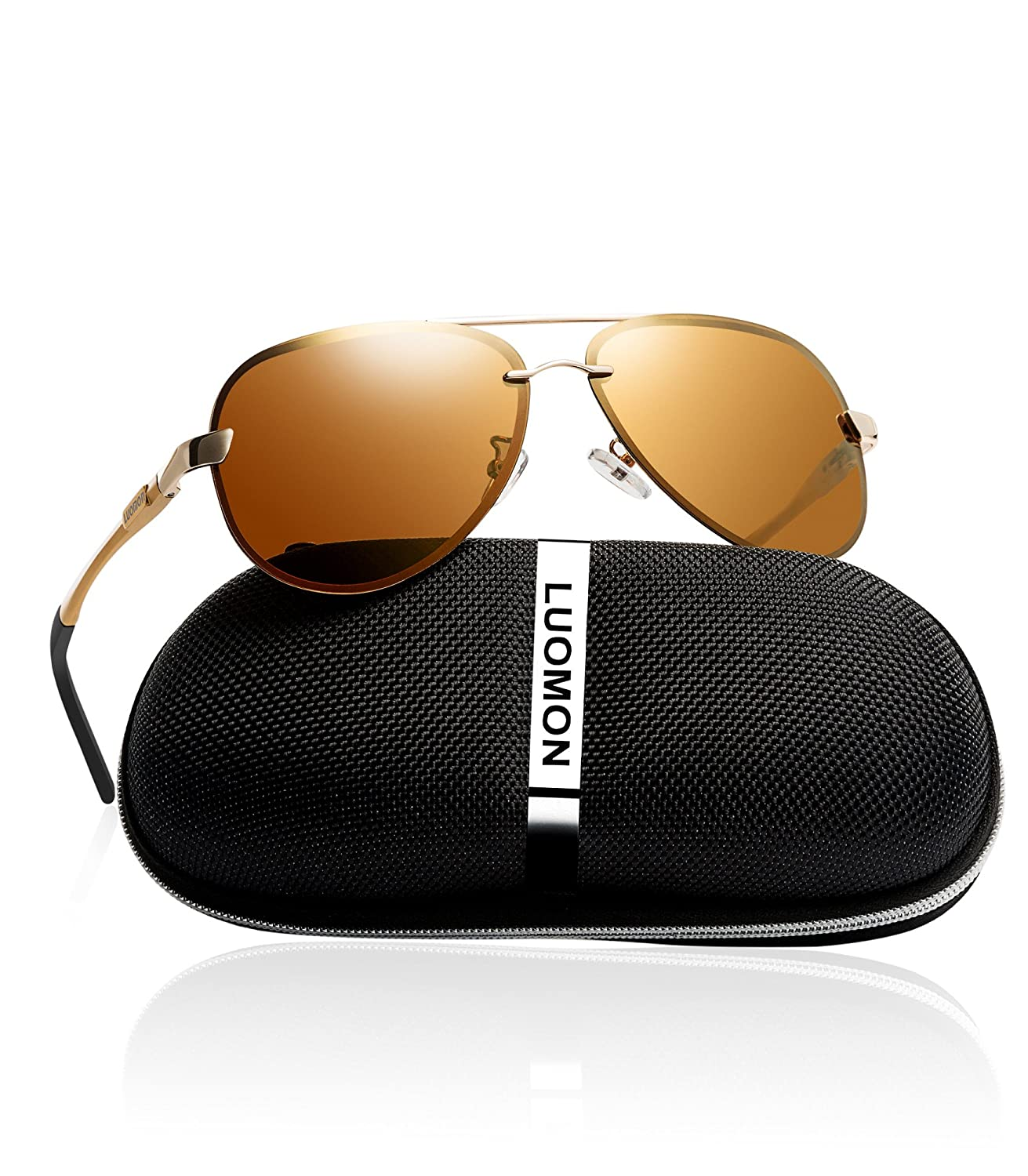 5ed00aed14 Amazon.com  LUOMON Men s Polarized Aviator Sunglasses Metal Gold  Frame Brown Lens with Al-Mg Aloy Temple LM007  Clothing
