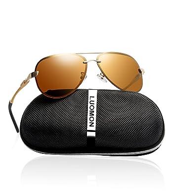 e38712c646 LUOMON Men s Polarized Aviator Sunglasses Metal Gold Frame Brown Lens with  Al-Mg Aloy