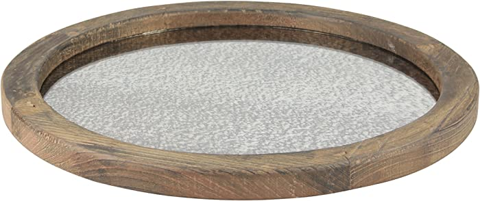 Stonebriar Round Natural Wood Serving Tray with Antique Mirror, Rustic Butler Tray, Unique Coffee Centerpiece for the Coffee Table, Dining Table, or Any Table Top