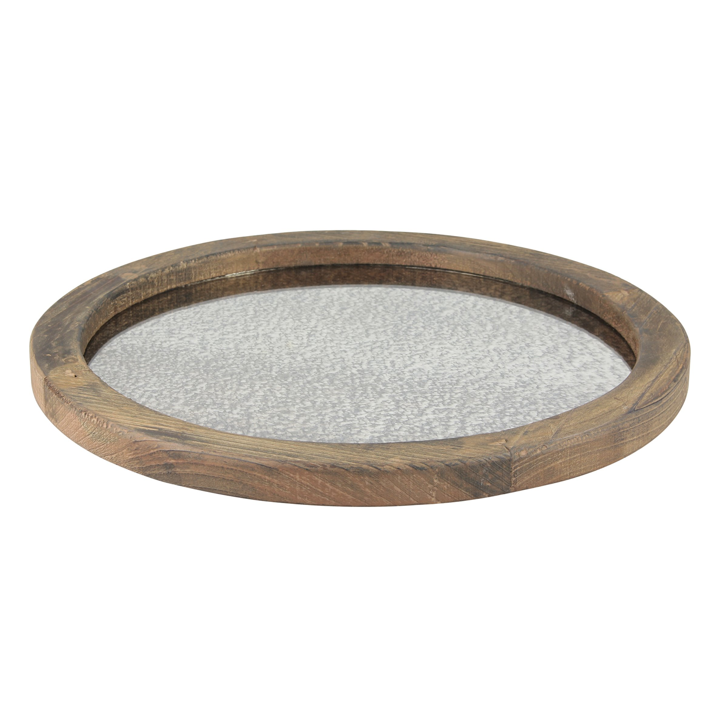 Stonebriar Round Natural Wood Serving Tray with Antique Mirror, Rustic Butler Tray, Unique Coffee Centerpiece for The Coffee Table, Dining Table, or Any Table Top by Stonebriar