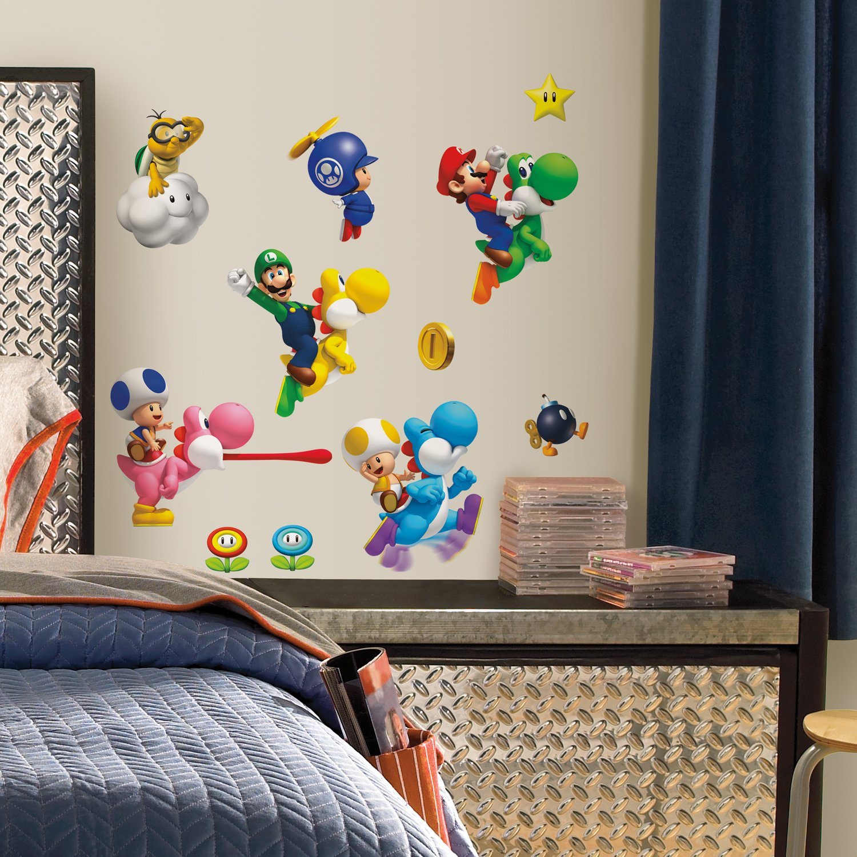 Nintendo Super Mario Bros buccia e bastone adesivi murali: Amazon ...