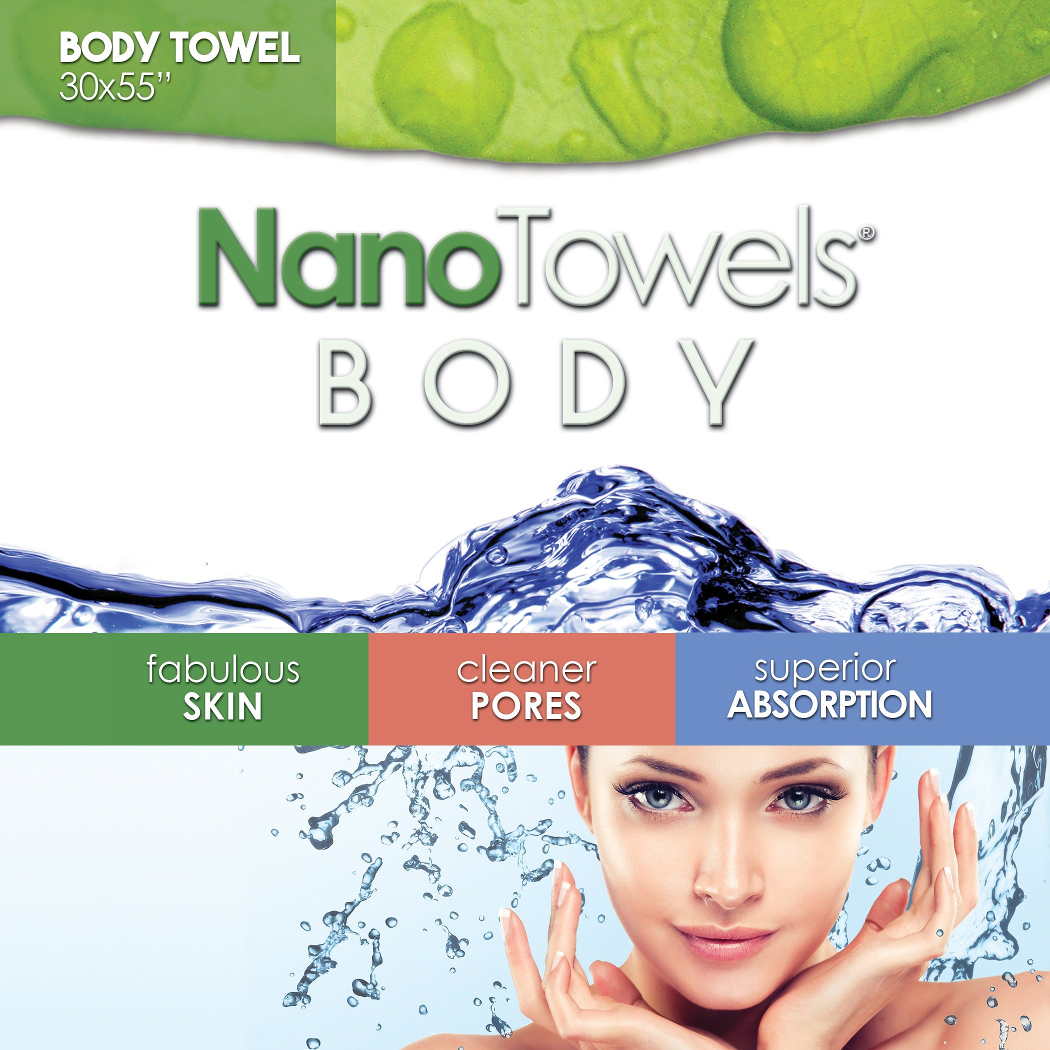 Nano Towels Body Bath & Shower Towel. Huge & Super Absorbent. Wipes Away Dirt, Oil and Cosmetics. Use As Your Sports, Travel, Fitness, Kids, Beauty, Spa Or Salon Luxury Towel. 30 x 55''. by Life Miracle (Image #4)