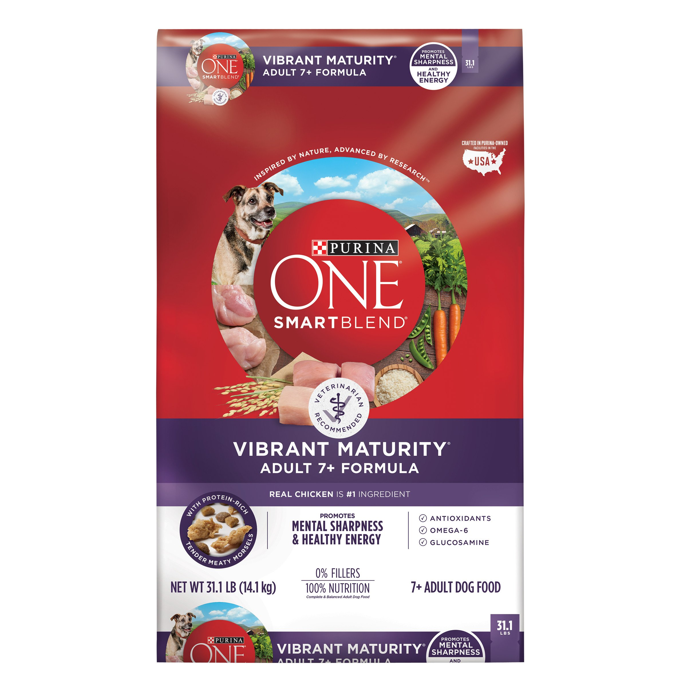 Purina ONE SmartBlend Vibrant Maturity Adult 7+ Formula Dry Dog Food - 31.1 lb. Bag