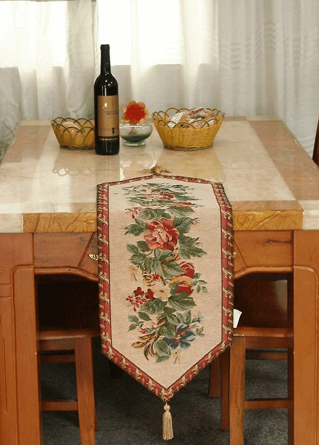Red Floral Tapestry Table Runner Tache Yuletide Blooms Woven Cottage Tapestry Cover - 13 X 90 Inch