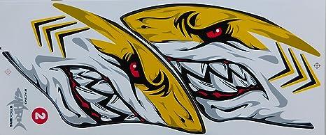 Dd Hai Shark Grosse Flammen Gelb Sticker Aufkleber Folie 1 Blatt 350 Mm X 150 Mm Wetterfest Motorrad Fahrrad Skateboard Auto Auto