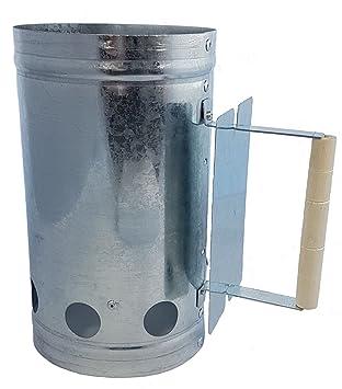 Spetebo Metal Carbón Cigarrillos con Mango de Madera – Barbacoa Carbón Cigarrillos – Letrero con Calor