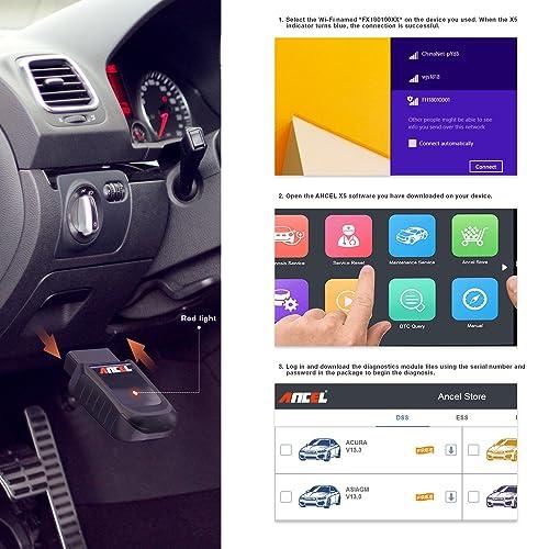 ANCEL X5 est un scanner de lecteur de code automobile OBD II qui prend en charge la connectivité sans fil
