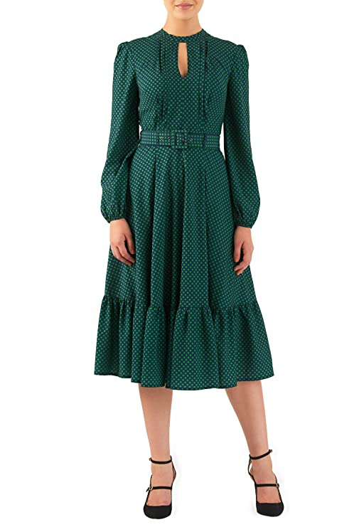 1940s Style Dresses and Clothing Polka dot print crepe flounce hem dress $72.95 AT vintagedancer.com