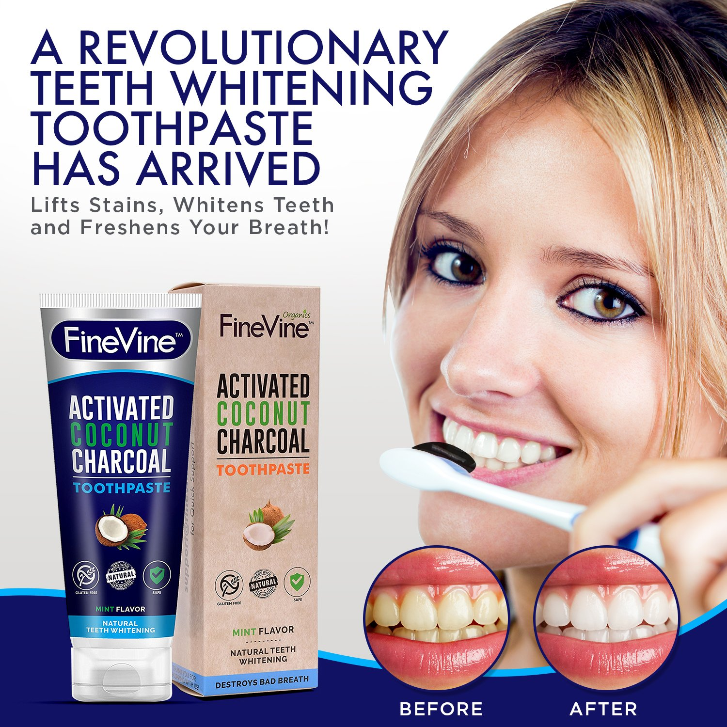 charcoal teeth whitening toothpaste made in usa whitens teeth naturally and removes bad. Black Bedroom Furniture Sets. Home Design Ideas